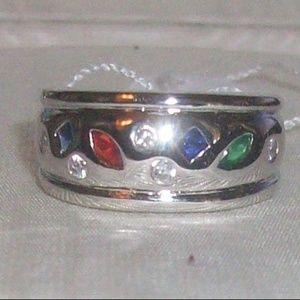 Jewelry - Rhodium Plated Multicolor/Multishape CZ Ring 6